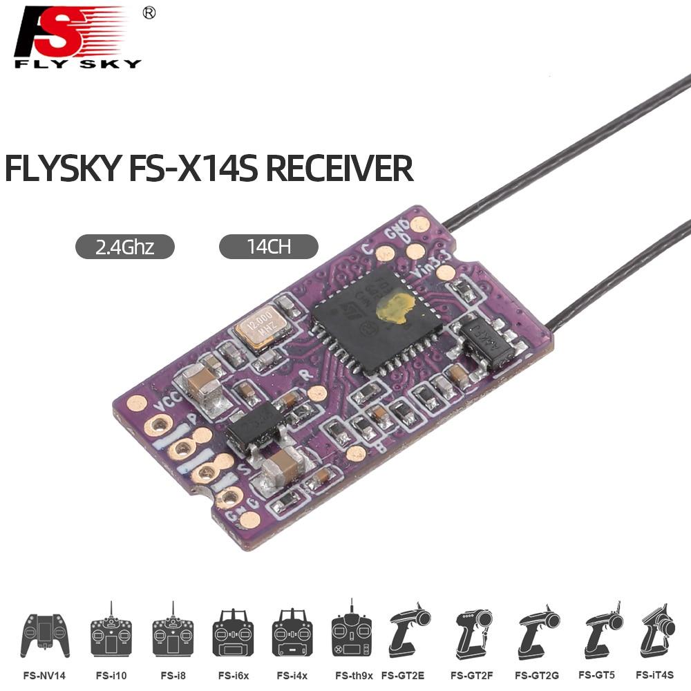 1pcs Flysky FS-X14S 2.4G PPM I-BUS S-BUS 14CH Dual Antenna One Way Receiver For RC Drone FS-NV14 FS-I6X FS-I6 I6S I6X