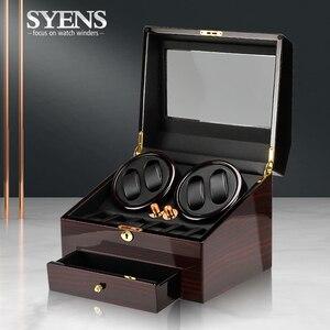 Caja enrolladora de reloj automática negra de alto acabado con alimentación de CA ultra-silence 4 + 6 con caja de almacenamiento de cajones