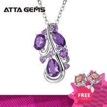 Doğal ametist ayar gümüş kadın kolye Birthstone 4.6 karat gerçek ametist kristal yüzlü kesme romantik hediyeler