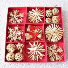 Natural trigo palha pingentes ornamentos árvore de natal ornamento diy artesanato crianças presente para casa decorações de festa de natal
