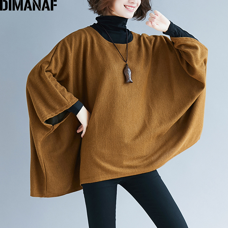 DIMANAF Plus Size Women Sweatshirts Pullovers Female Tops Shirts Autumn Winter Big Size Batwing Sleeve Loose Casual Clothes 2019