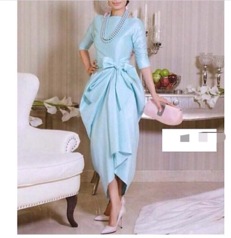 Myriams Fare Prom Half Sleeves Back Bow Tea Length Sky Blue Vestido De Noiva Baile Cheap Online Mother Of The Bride Dresses