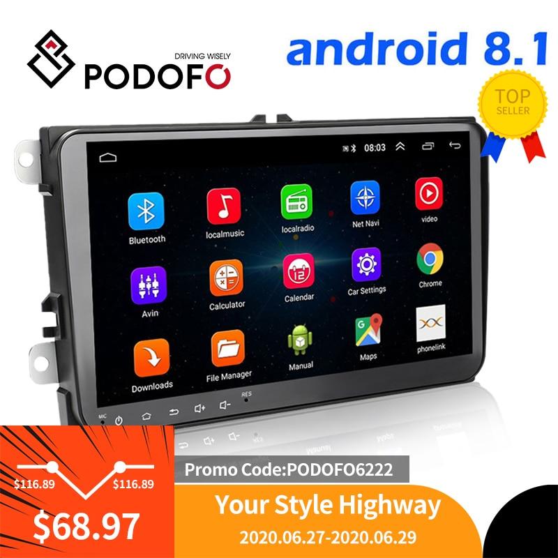 Автомобильный мультимедийный плеер Podofo, 2 Din, Android 8,1, gps, стерео для Volkswagen, Skoda Seat, Octavia, golf 5, 6, touran, passat, B6, polo|Мультимедиаплеер для авто|   | АлиЭкспресс