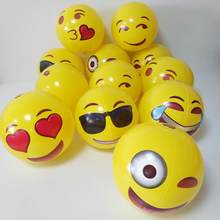 12Pcs/Set Cute Yellow Emoji Inflatable Face Expression Beach Ball Cartoon Water Float Ball For Children Kids Party Toy Christmas(China)