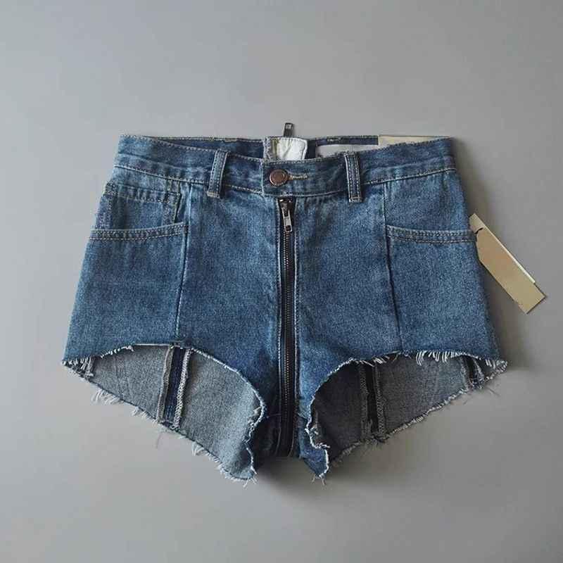Baru Fashion Wanita Zipper Kasual Celana Pendek Tinggi Pinggang Jeans Wanita Kantong Yanahuara Cintura Alta Pantalon Femme Celana Slim Fit Biru