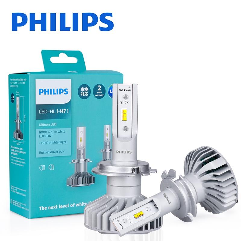 2 шт. Philips X-tremeUltinon H7 LED H1 H8 H11 H16(JP) 6000K светодиодная лампа Автомобильные фары Противотуманные фары миниатюрный размер LED KQ