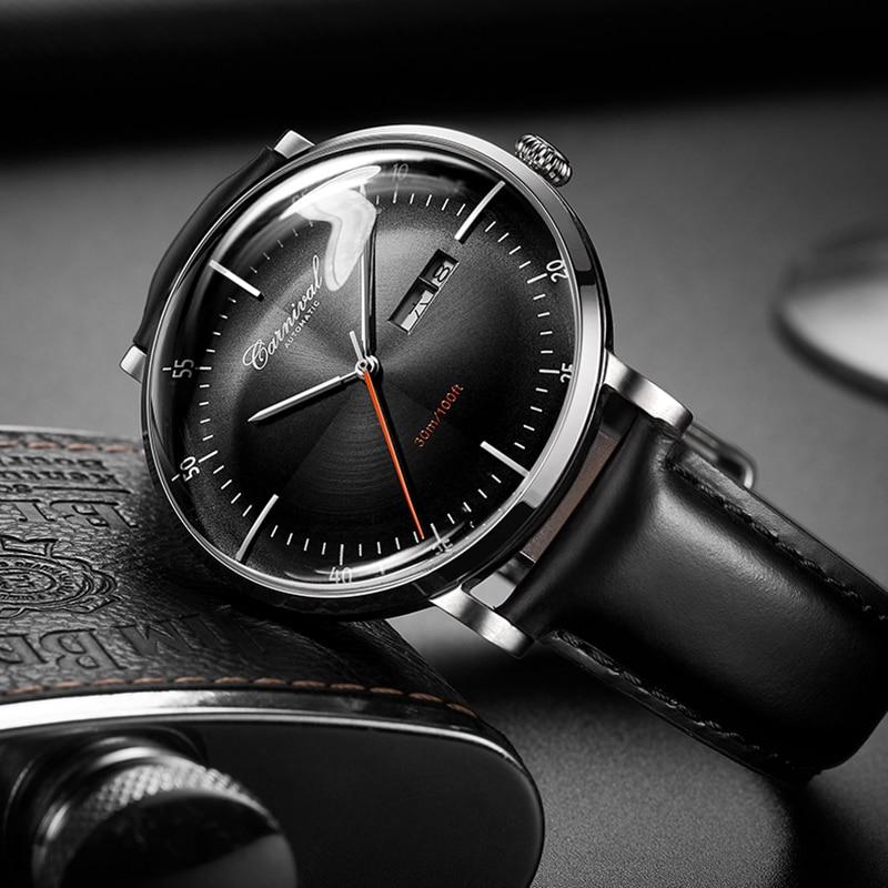 Relogio Masculino Switzerland CARNIVAL Luxury Men Automatic Watch Sapphire MIYOTA 9015 Movement Calendar Waterproof Leather Band