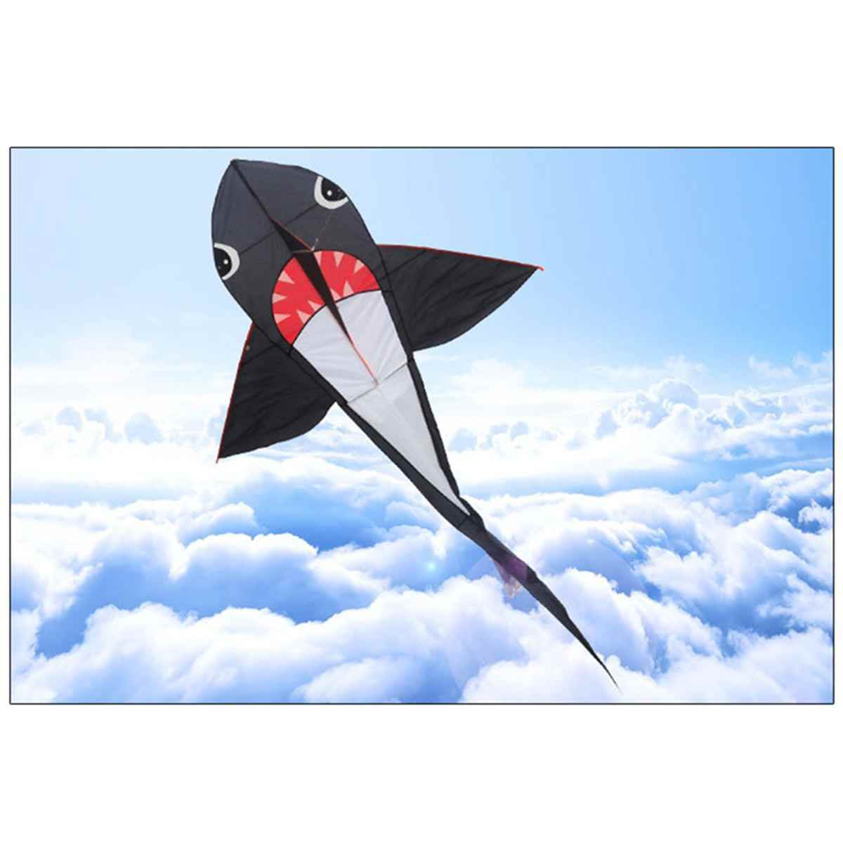 55/77 Inches Big Size Shark Kite Power Sport Huge Soft Kite Outdoor Toy Software Power Sport Flying Kite Outdoor Birthday Gift