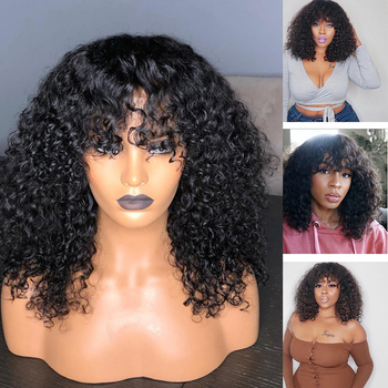 Transprent 13x4 Lace Front Wigs Curly Wigs With Bangs Baby Hair 250 Density Full Lace  Human Hair Wigs Peruvian RemyFringe Wigs