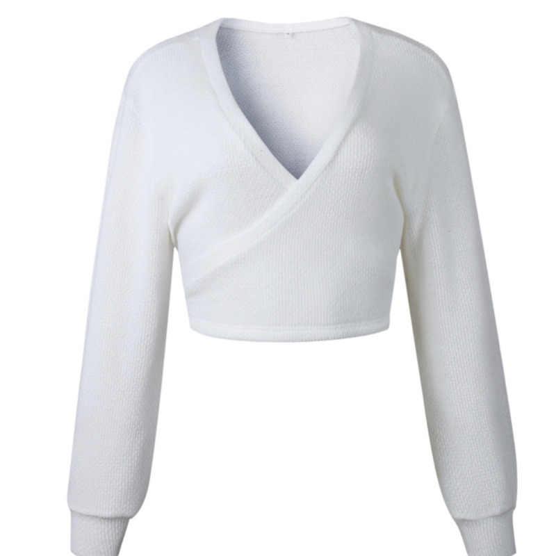 Colheita Malha Camisolas Mulheres Invierno 2019 Queda Mulher Camisolas Pullovers Ocasional Sexy Com Decote Em V Longo Branco
