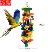 Grande colorido pássaro brinquedos corda de algodão bloco de madeira roendo papagaios roendo brinquedos de quatro camadas budgie acessórios para aves