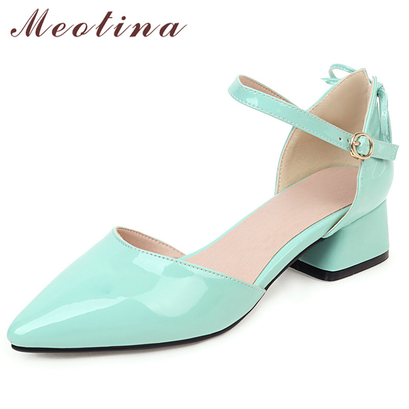 Meotina Pumps Women Bow Mid Heels Two-Piece Shoes Buckle Pointed Toe Footwear Ladies Summer Elegant Shoes Female Black White 46