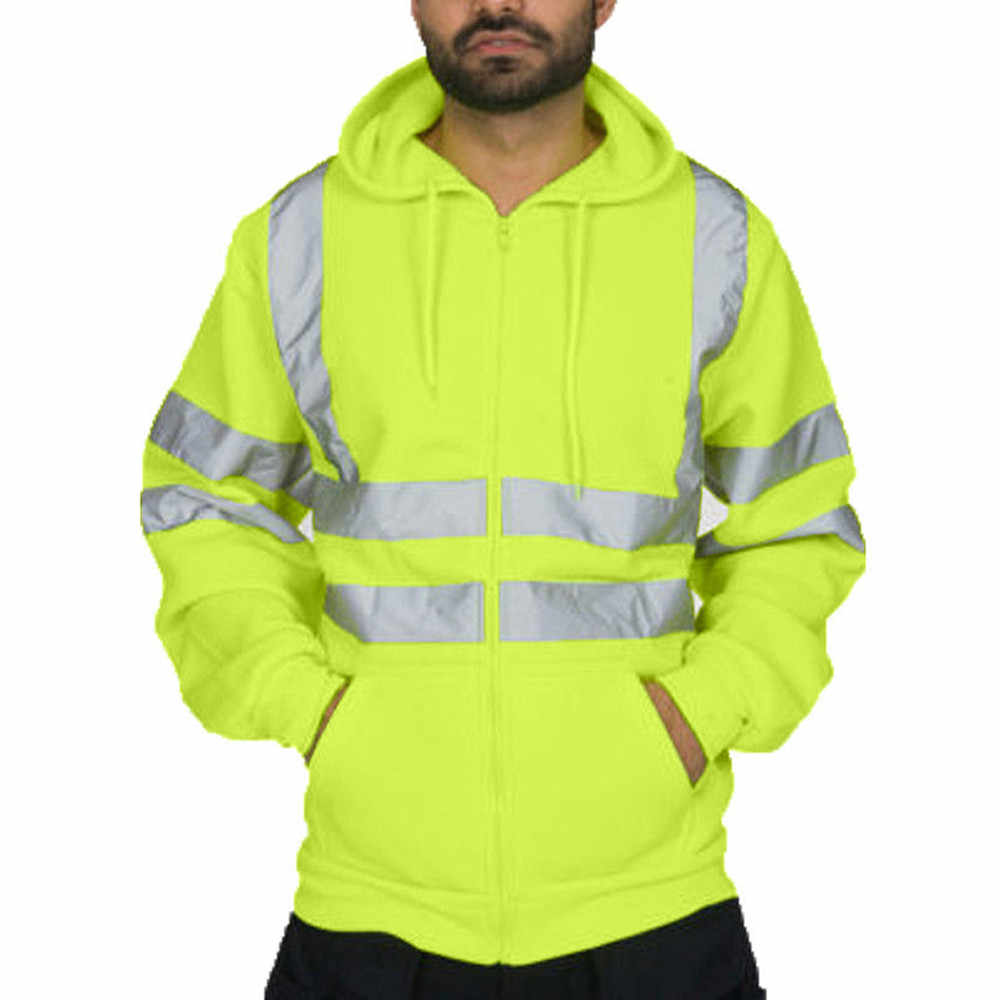 Erkek ceket yol çalışması yüksek görünürlük kazak uzun kollu kapşonlu ceketler Parka ince palto rahat rüzgarlık ceketler casaco masc