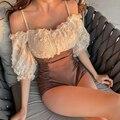 Сексуальный цельный купальник с открытыми плечами и воланом, Женский Монокини 2020, купальный костюм с коротким рукавом, женский купальный ко...