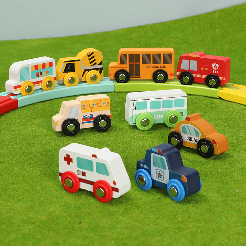 Wood Train Plane Wood Railway Bus Express Car Police Car Taxi Car Accessories Toy For Kids Fit Wood New Biro Tracks Gifts