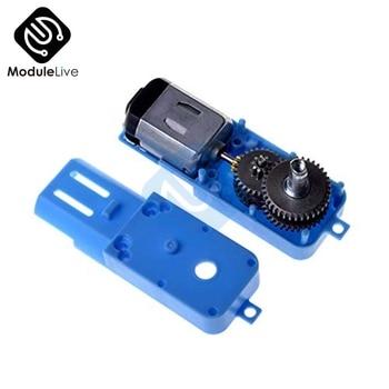 1: 90 Motor completo Semi Metal engranaje Robot inteligente vehículo reductor de velocidad 3 V-6 V TT motor simple eje azul caso