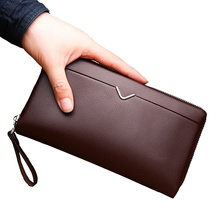 Long Wallet Men's Wallet Large Capacity Zipper Clutch Bag Small Handbag Pu Soft Leather  Mobile Phone Bag Tide Card Package