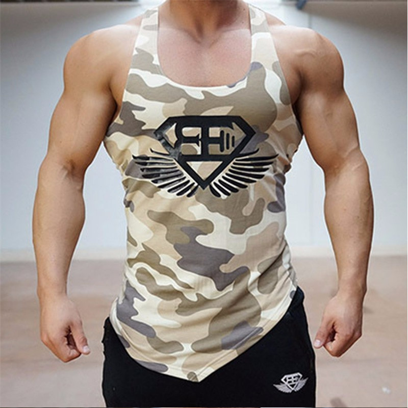 bodybuilding camouflage tank top men