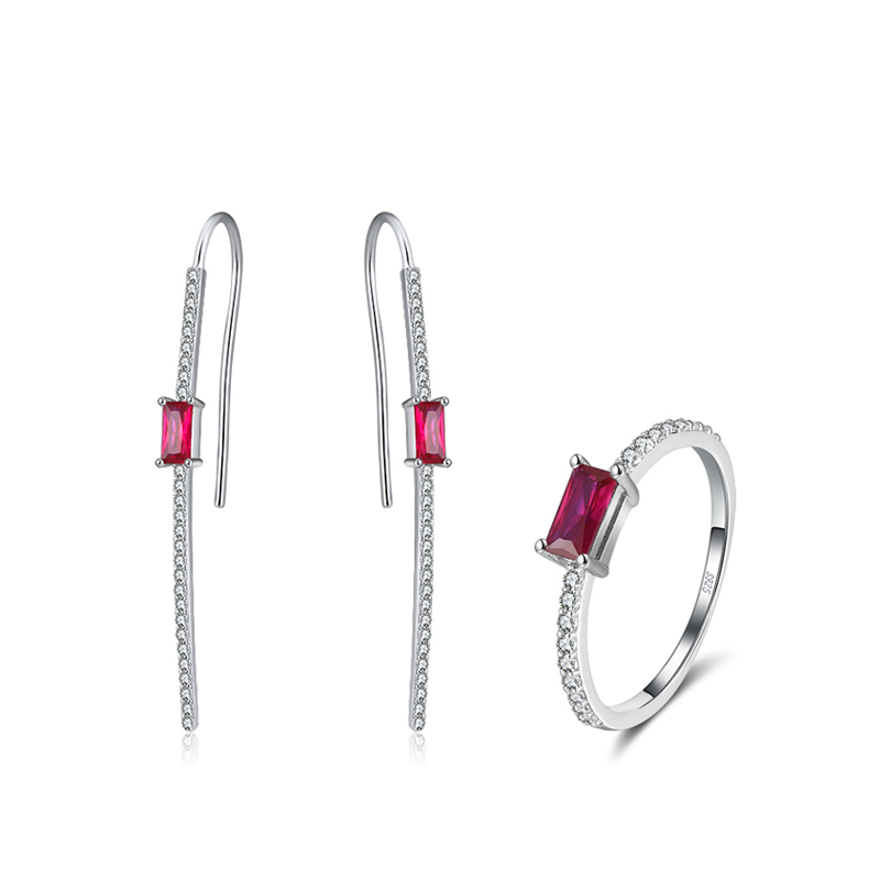 Effie Queen Exquisite 925 Silver Jewelry Set with Hanging Earring Rings Red Stone AAAA Zircon Woman Jewelry Party Gift DSS72