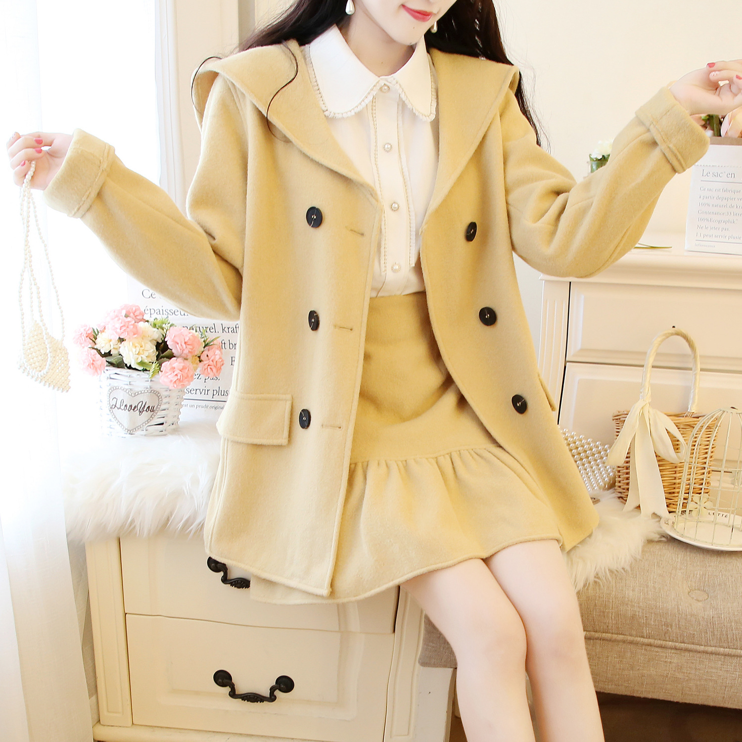 Autumn And Winter New Style College Style Woolen Jacket Double Breasted Woolen Overcoat + Skirt Two-Piece Set