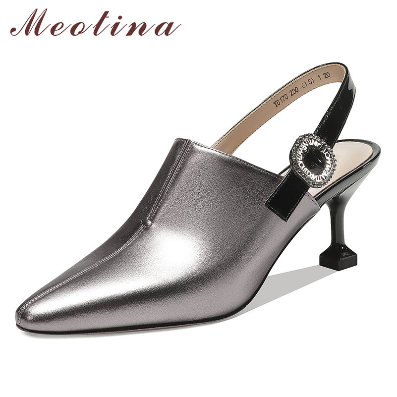 Meotina High Heels Women Shoes Natiral Genuine Leather Thin High Heel Slingbacks Shoes Real Leather Buckle Pumps Lady Size 33-39