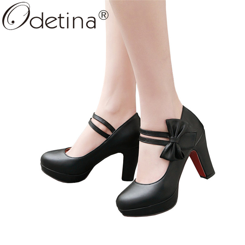 Odetina Women Platform Ankle Strap Bow Mary Jane Shoes Block High Heel Sweet Girl Dress Pumps Party Shoes Bowknot Plus Size 46