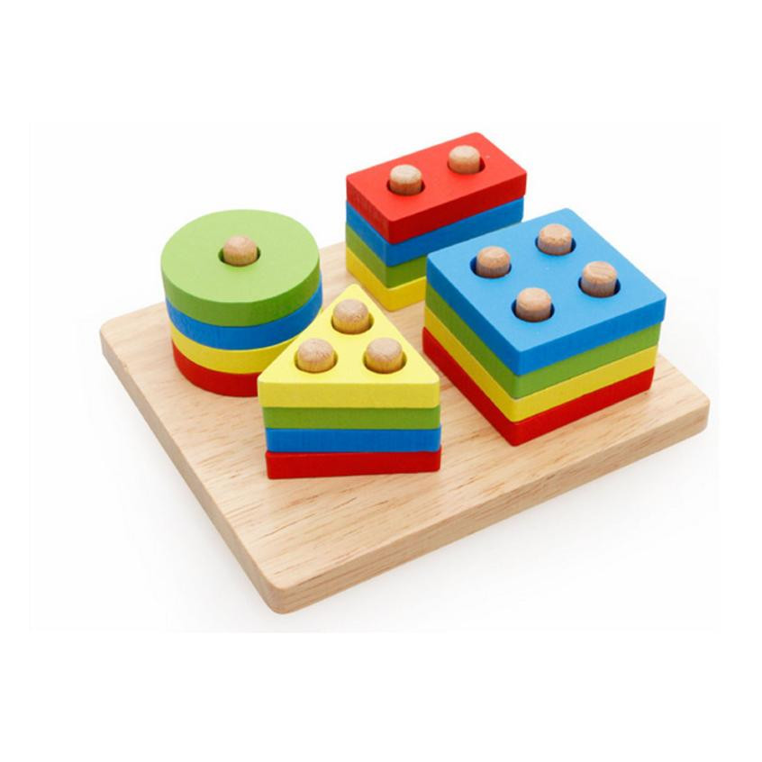 Attractive Educational Montessori Toys Learning Wooden Pole Geometry Shape Intelligence Interesting Math Toys For Children Kids