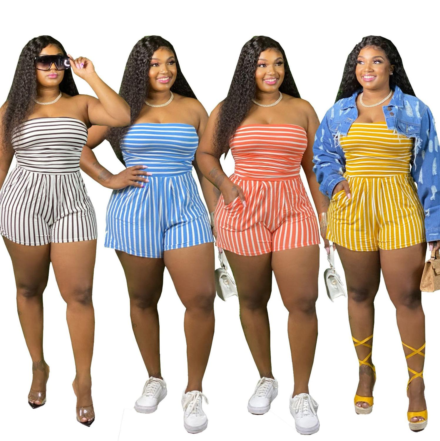 2020 Hot Sale Stripes Women Short Jumpsuits Sexy Strapless Neck Sleeveless Loose Casual Playsuits Plus Size L  4XL