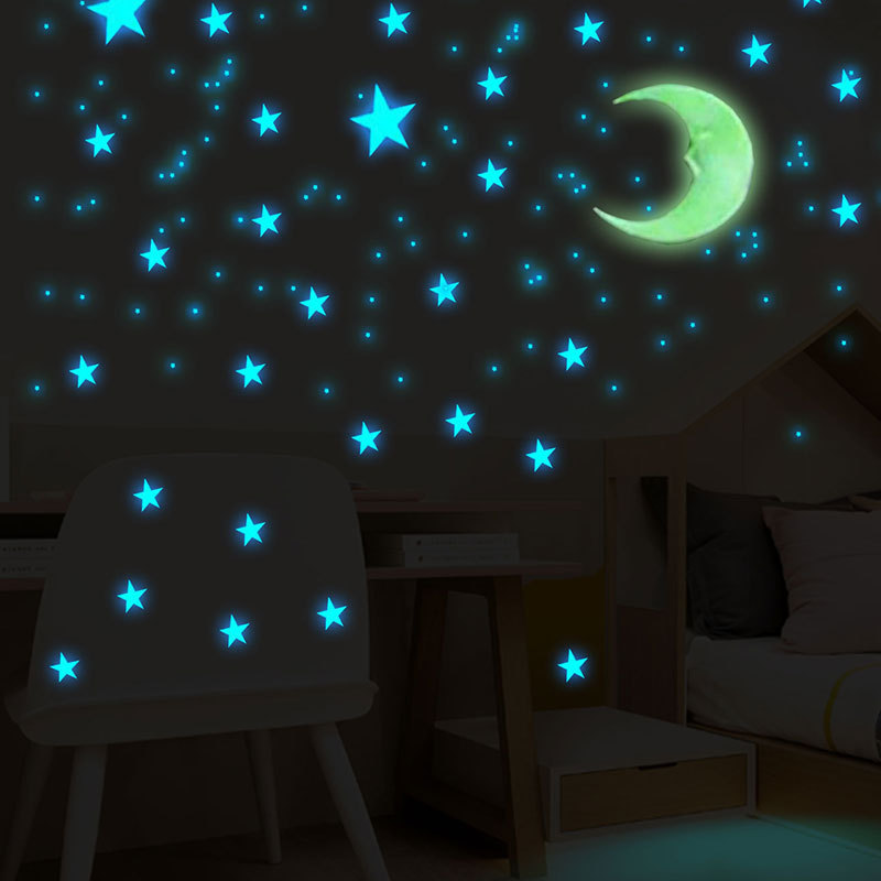 100 Pcs 3cm Luminous Stars Wall Stickers Glow In The Dark Stars For Kids Baby Room Living Room DIY Wall Art Home Decor Stickers