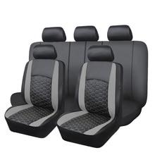 Delux pvc assento de carro cobre conjunto duplo laminado bordado airbag compatível banco traseiro dividir 40/60 50/50 60/40 suv