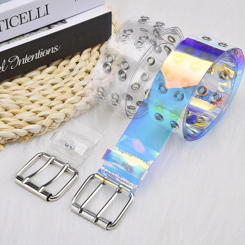 Fashion Transparent Belt Woman Waist Belts For Women Plus Size PVC White Cinturon Mujer Designer Neon Color Jeans Clear Riem