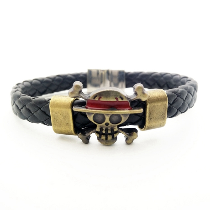 Anime One Piece Luffy Leather Bracelet Multi Layer Pendant Chain Bangle Cosplay