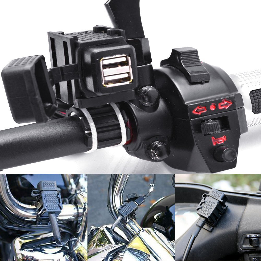 Motorcycle 2.1A Dual USB Charger Socket Power Adapter With 180cm Cable for BMW DIN Hella Plug Phone / iPhone / GPS SatNav 4