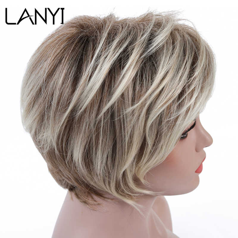LANYI Hair Short Wig Ombre Brown Mixed Blonde Hair Wigs Natural Curly with Bangs Heat Resistant Full Wig for Women 6 inch