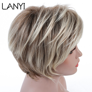 LANYI Hair Short Wig Ombre Brown Mixed Blonde Hair Wigs Natural Curly with Bangs Heat Resistant Full Wig for Women 6 inch(China)
