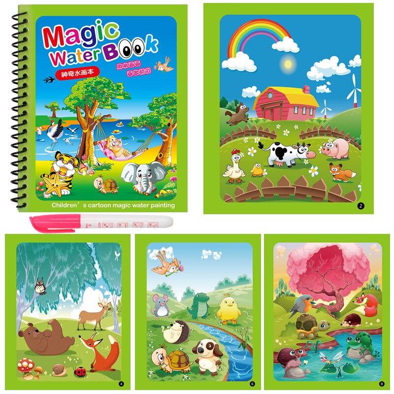 Доска для рисования Монтессори для раннего развития, детские игрушки, книжка-раскраска, рисование волшебной водой 2