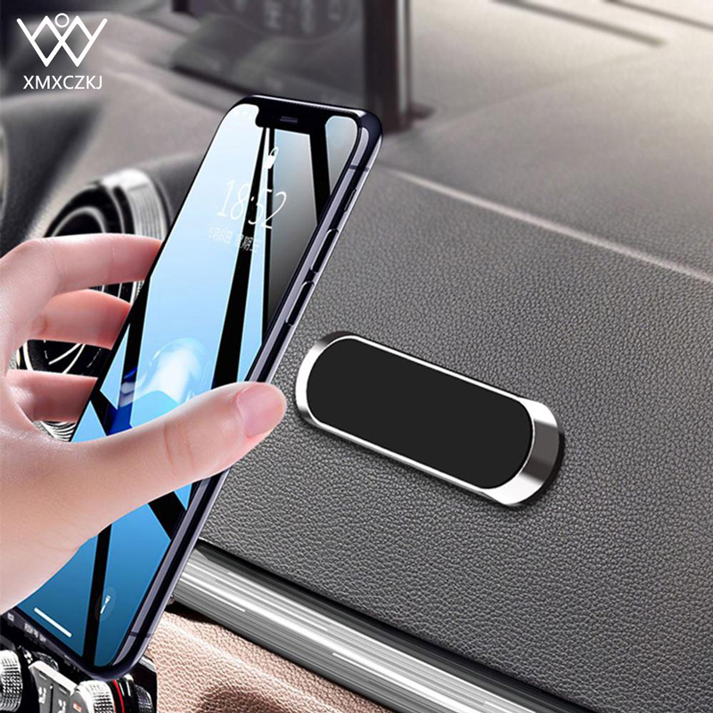Magnetic Car Phone Holder Mini Strip Shape Stand Car Air Vent Mount For IPhone Samsung Xiaomi Metal Magnet Car Mount For Wall