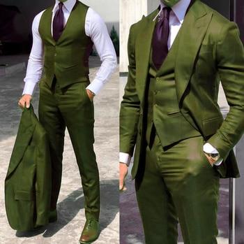 Classy Wedding Tuxedos Suits Slim Fit Bridegroom For Men 3 Pieces Groomsmen Suit Male Cheap Formal Business  (Jacket+Vest+Pants) 11