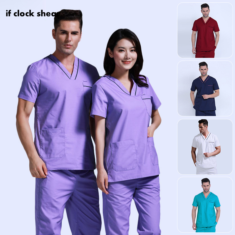 Unisex Scrub Set Classic V-neck Top + Nursing Pants Uniform Doctor Clothes Surgery Overalls Dental Clinic Clothes Scrub Uniforms