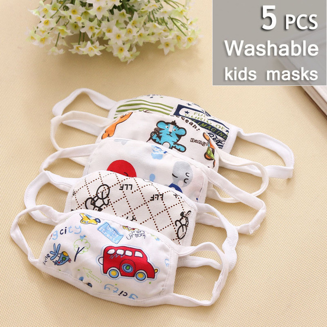 3/5pcs face mask for kids Reusable facemask Anti-Dust Mouth Respirator boys girls washable face mask baby face protection masque 2