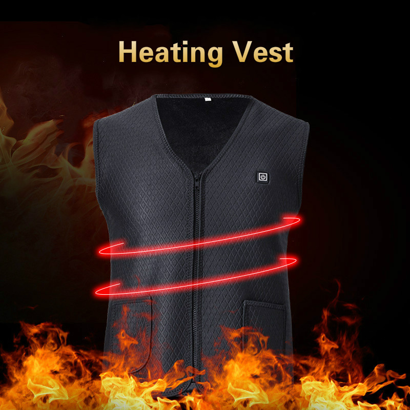 Outdoor Camping Skiing Fishing USB Infrared Heating Vest Jacket 2019 Winter Electric Thermal Clothing Waistcoat For Men Women