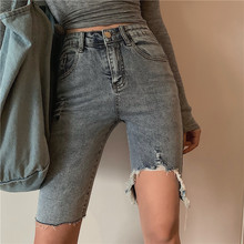 2019 New Jeans for Women Blue Ripped Womens Pants Casual  Pencil Sexy Slim Elastic Skinny Trousers