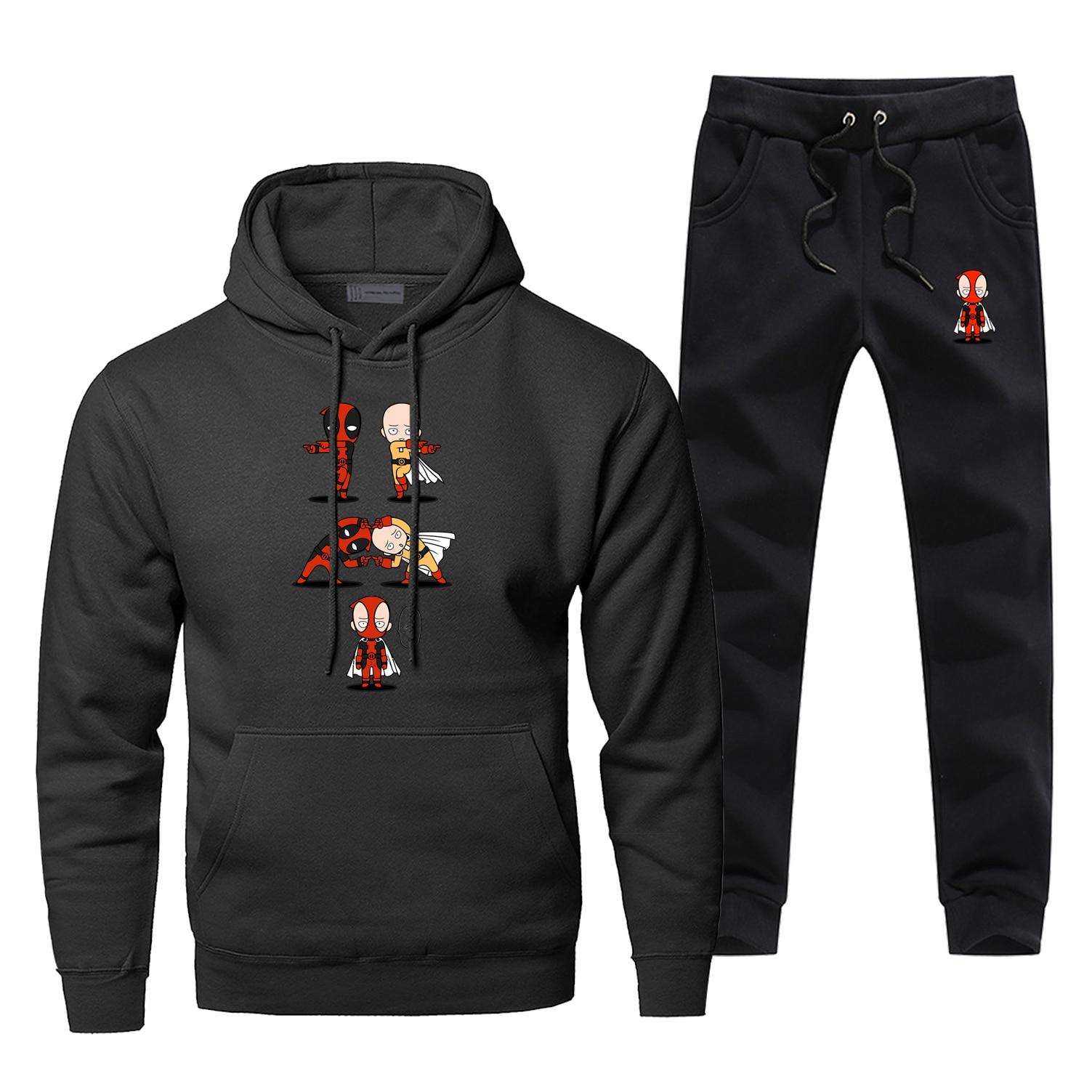 Funny Marvel Super Hero Deadpool One Punch-Man Fusion Hoodies Two Piece Pants Men Fleece Sweatshirt Streetwear Sweatpants