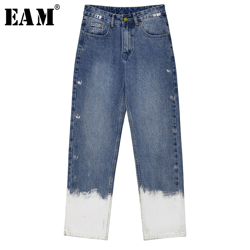 [EAM] Blue White Gradual Color Long Wide Leg Jeans New High Waist Loose Women Trousers Fashion Tide Spring Autumn 2020 1T286
