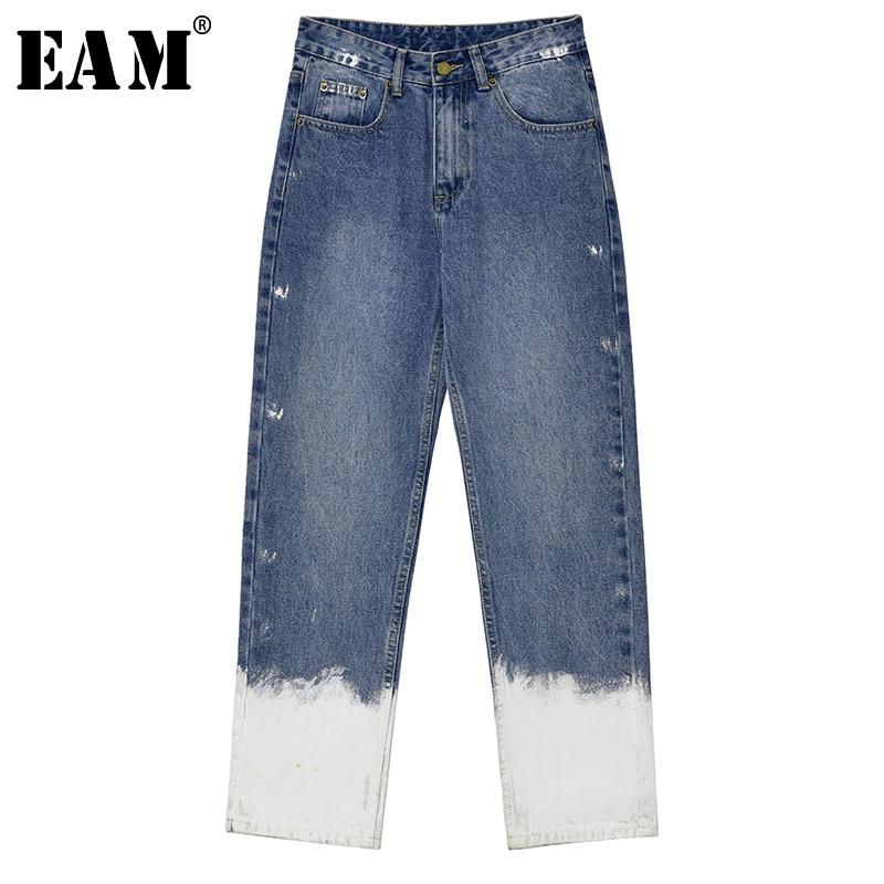 [EAM] Blue White Gradual Color Long Wide Leg Jeans New High Waist Loose Women Trousers Fashion Tide Spring Autumn 2020 1T286