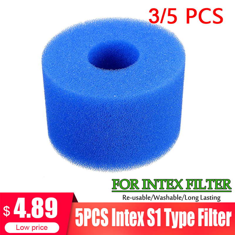 3/5PC Swimming Pool Filter Foam Reusable Washable Sponge Cartridge Suitable Bubble Jetted Pure SPA For Intex S1 Type Pool Filter(China)