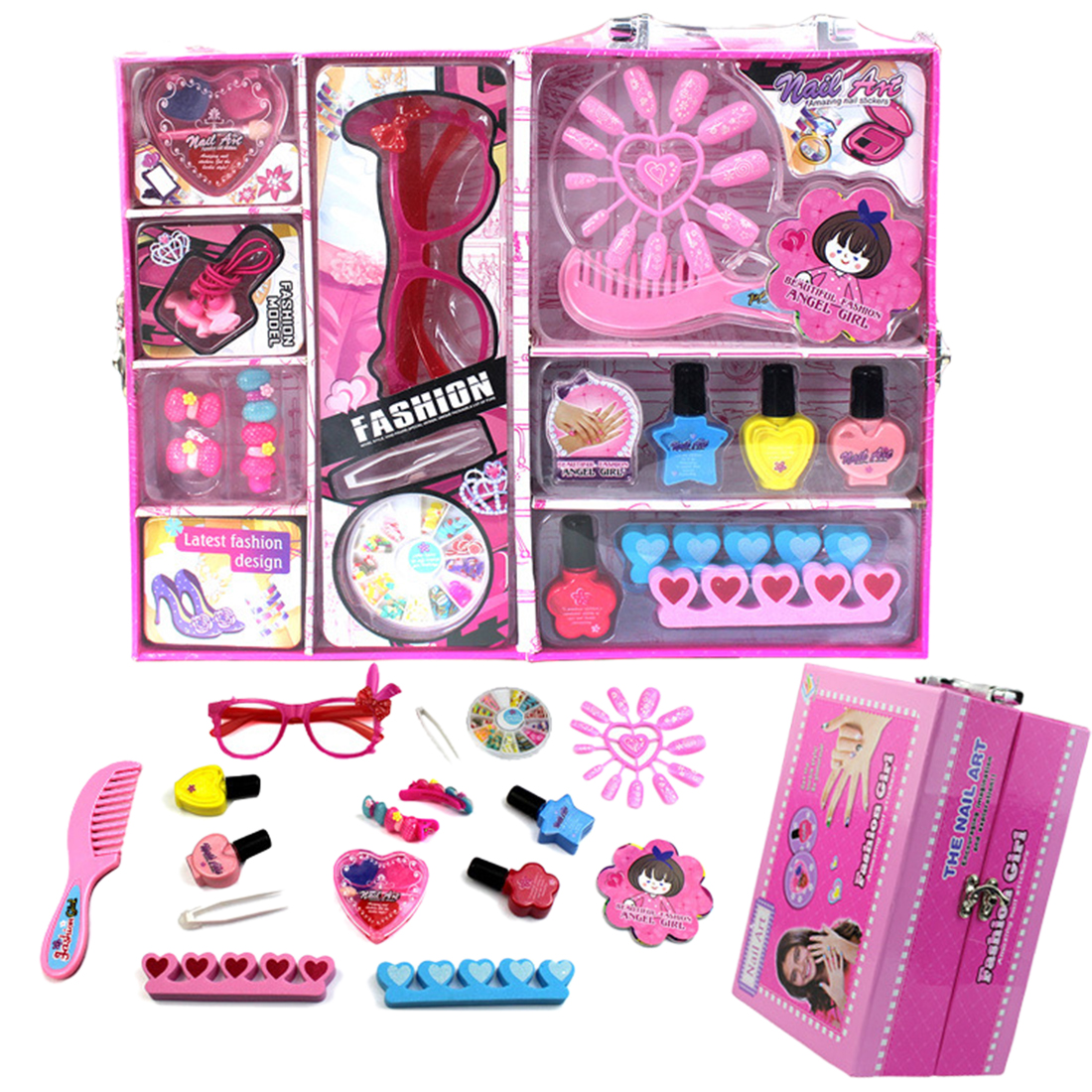 Children Girl Makeup Suitcase Play Set Pretend Nail Polish Beauty Pretend Toy Kit Gift For Kids