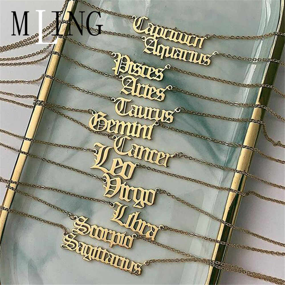 MLING Vintage Gold Alloy Pendant Necklace Simple Letters Twelve Constellations Pendant Necklace for Women