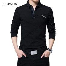 BROWON מכירה לוהטת T חולצת גברים ארוך חולצה תורו למטה פס מעצב חולצה Slim Fit Loose מקרית כותנה T חולצה זכר בתוספת גודל