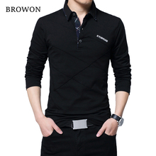BROWON vendita calda T Shirt uomo T shirt lunga T shirt firmata a righe rovesciate T shirt Slim Fit in cotone Casual allentato uomo taglie forti